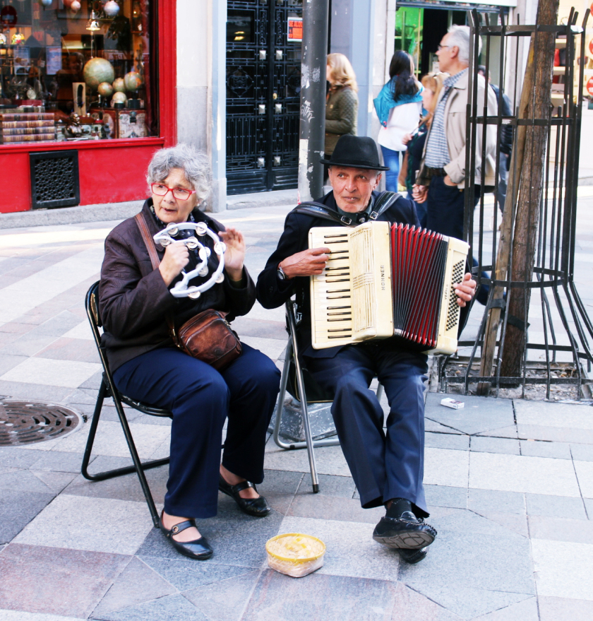 Old couple busking, Madrid, Spain