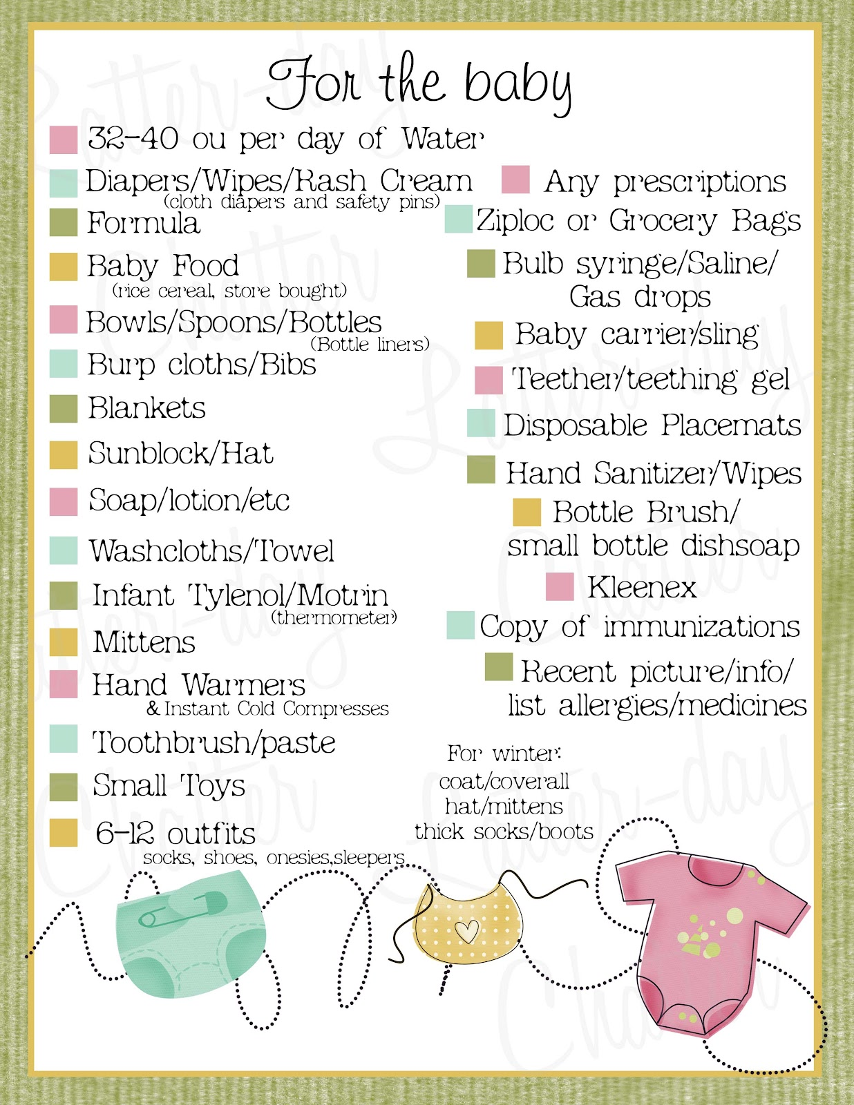 Latter Day Chatter Baby 72 Hour Kits