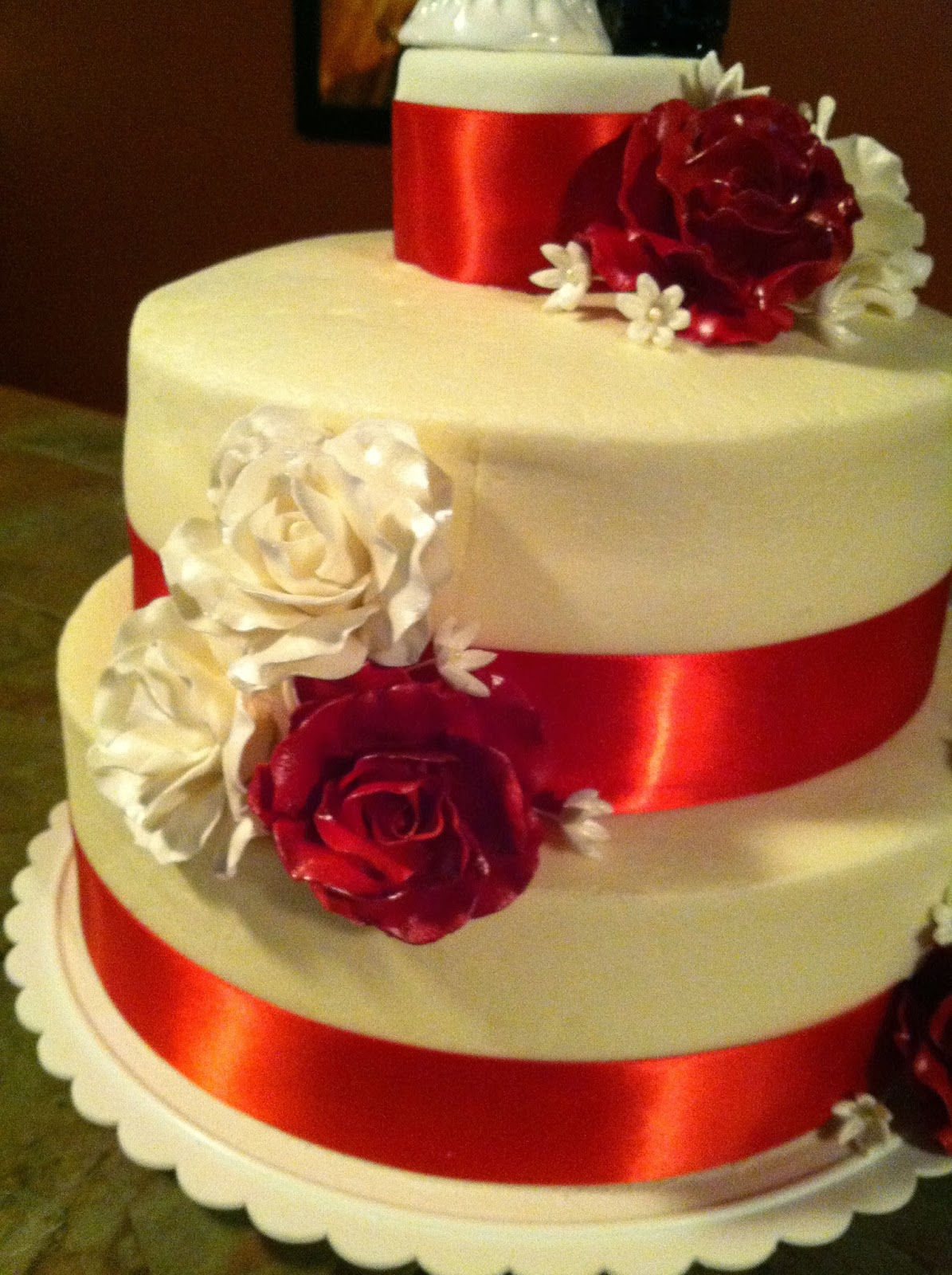 red ribbon wedding cakes cakes by the sugar cains ribbon wedding cake 19143