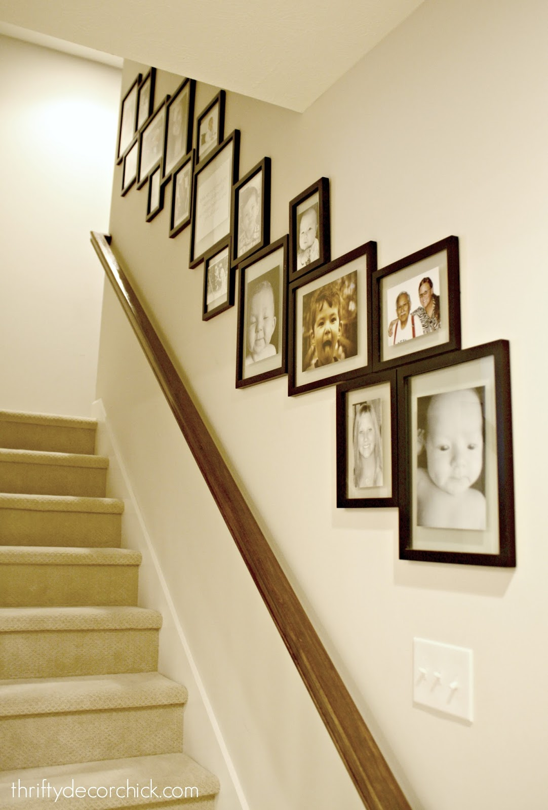Gallery wall with frames touching