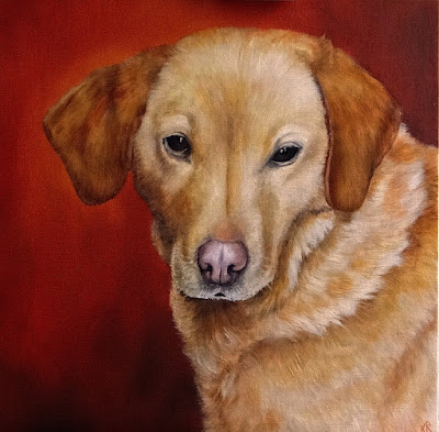oil painting of a yellow labrador, a pet portrait by karen