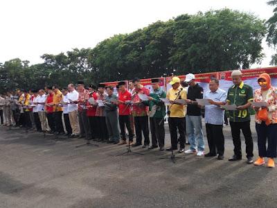 Polda Lampung Gelar Deklarasi Pemilu Damai, Tolak Politisasi SARA dan Hoax