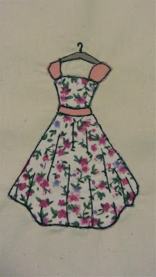 1950s dress free motion embroidery or raw edge applique