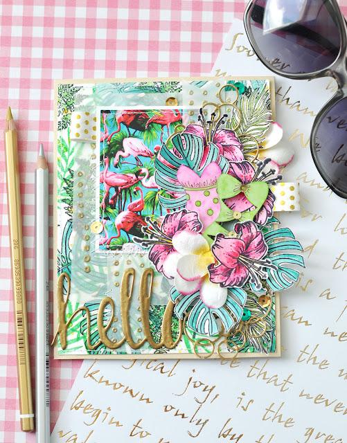 фламинго монстера золото купальники цветы