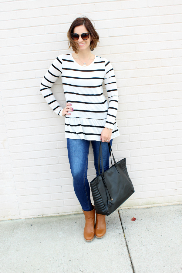 black tote bag, poverty flats by rian, striped peplum top, mom style