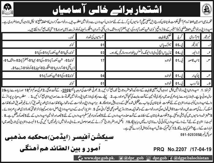 Ministry Of Religious Affairs Govt of Balochistan 19 Apr 2019 Jobs