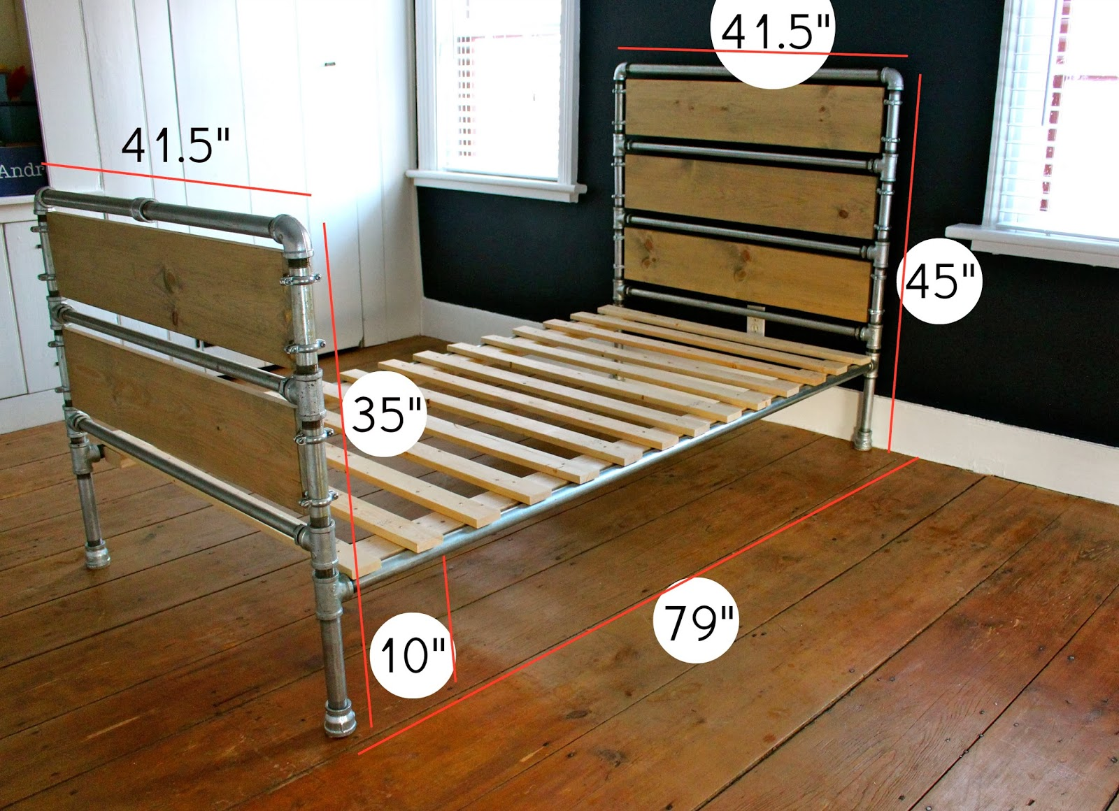 That s my letter diy pipe wood slats bed