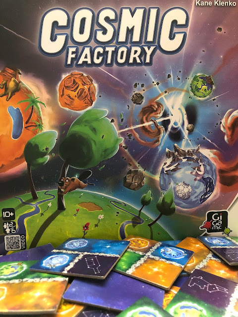 Cosmic Factory Box and Galaxy Tiles - Gigamic - Board Game Review of Cosmic Factory Kaosmos - Photo by Benjamin Kocher