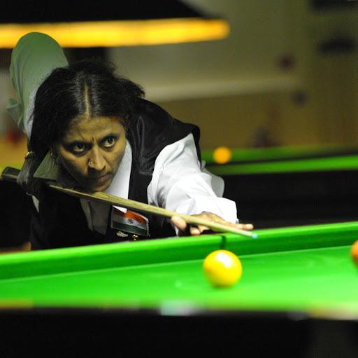 R Umadevi playing billiards