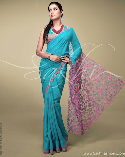 Pure-indian-chiffon-sarees-with-blouse-for-summer-for-girls-5