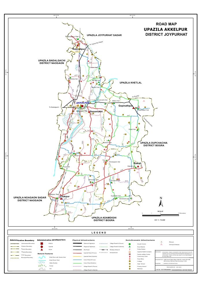 Akkelpur Upazila Road Map Joypurhat District Bangladesh