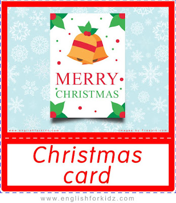 Christmas card, Christmas flashcards for English teachers
