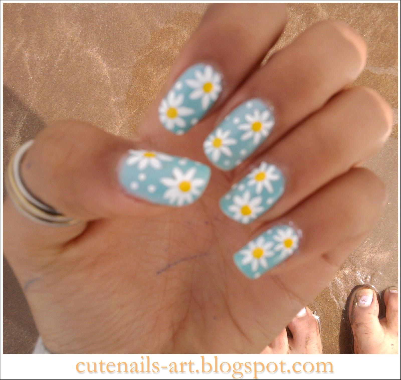 Flower Nail Art: Cutenails-art: Spring Nails Art : Daisy Flowers