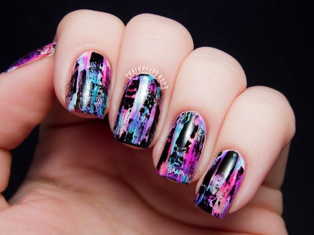 Tutorial Distressed Nail Art Punk Grungy Effect Chalkboard Nails
