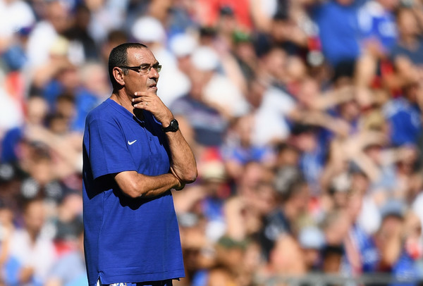 Maurizio Sarri of Chelsea looks on during the FA Community Shield match between Manchester City and Chelsea at Wembley Stadium on August 5, 2018 in London, England