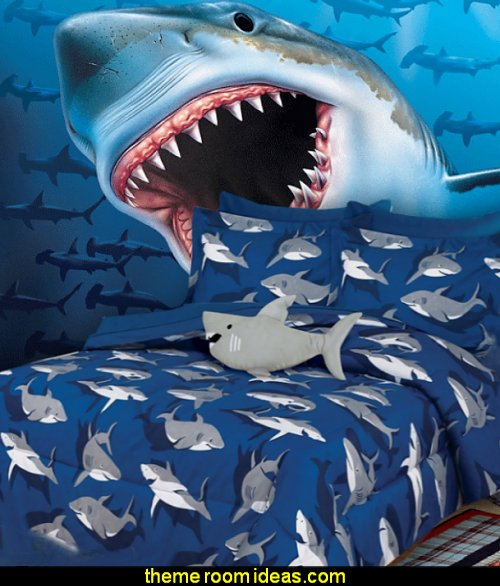 shark bedding shark wall mural Shark Bedrooms - shark murals - Shark Decor - shark wall decals - shark theme bedroom decorating ideas -  surfing theme bedrooms - surf shack bedrooms - shark bedding - nautical bedrooms - 3d shark wall decorations