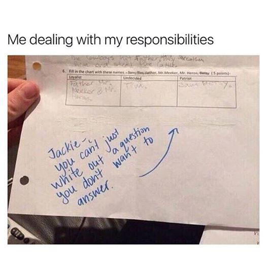 Dealing with my responsibilities