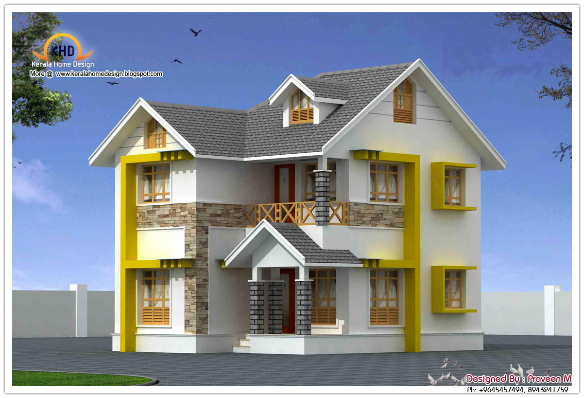 Beautiful duplex house elevation 1440 sq ft kerala for Duplex ideas