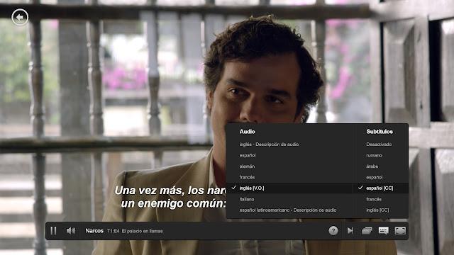 Menú de idiomas y subtítulos en la serie Narcos de Netflix