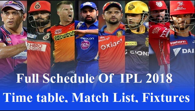 IPL 2018 full schedule | Teams | Players | Auctions | Time | Venue | Celebs Performing on IPL 2018