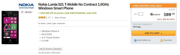Nokia Lumia 521 costs $59.99 from until March 19, contract free