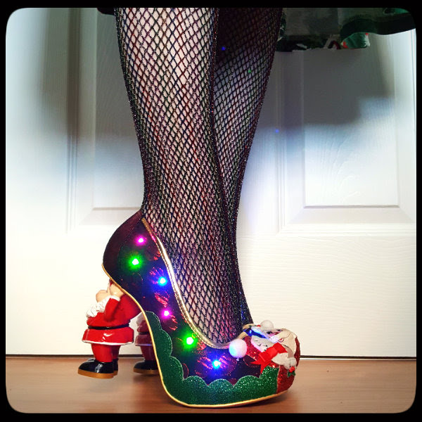 wearing irregular choice light up Christmas shoes