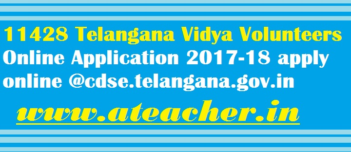 TS Vidya Volunteers Recruitment 2017,TS VVs Online application form 2017,VVs Merit List,VVs Selection List, VVs Results,VVs