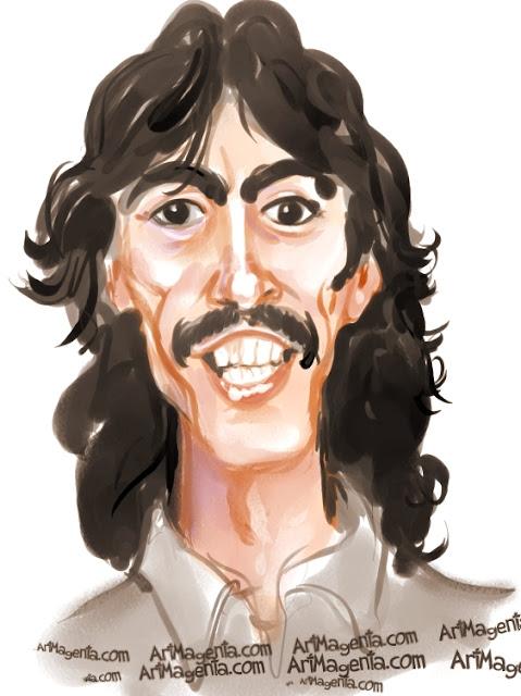 George Harrison caricature cartoon. Portrait drawing by caricaturist Artmagenta