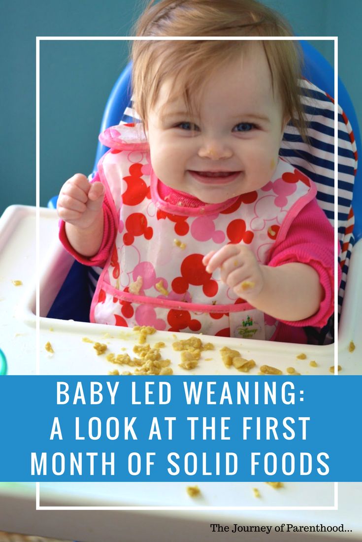 Baby Led Weaning: A look at the first month of solid foods. Introducing finger foods to baby using BLW at six months old. How to start baby led weaning and what food to make for baby. How to prepare food for BLW too!