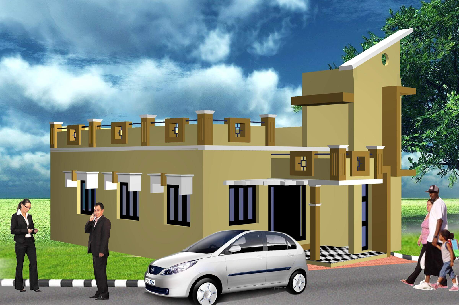 Single Floor Elevation House : House front elevation single story d design photo picture