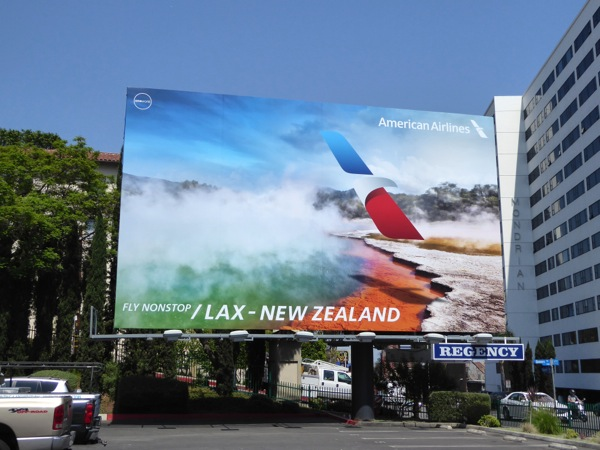 American Airlines LAX New Zealand billboard