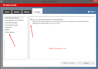 Mematikan real time protection windows defender