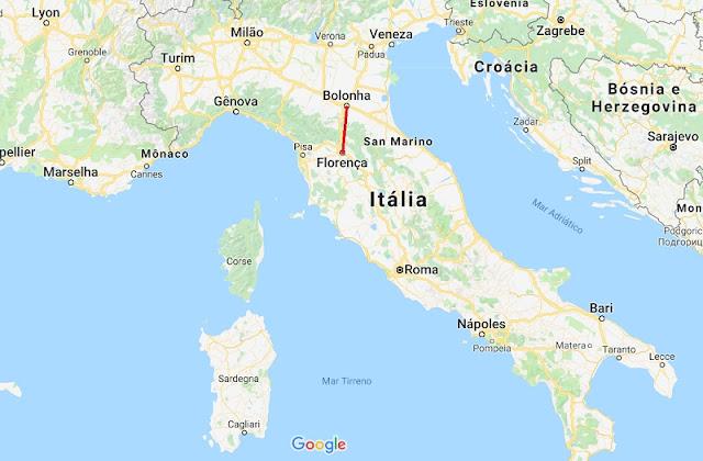Mapa da viagem de Bolonha a Florença