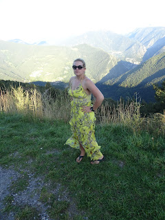 stunning dress flowing in wind in mountains