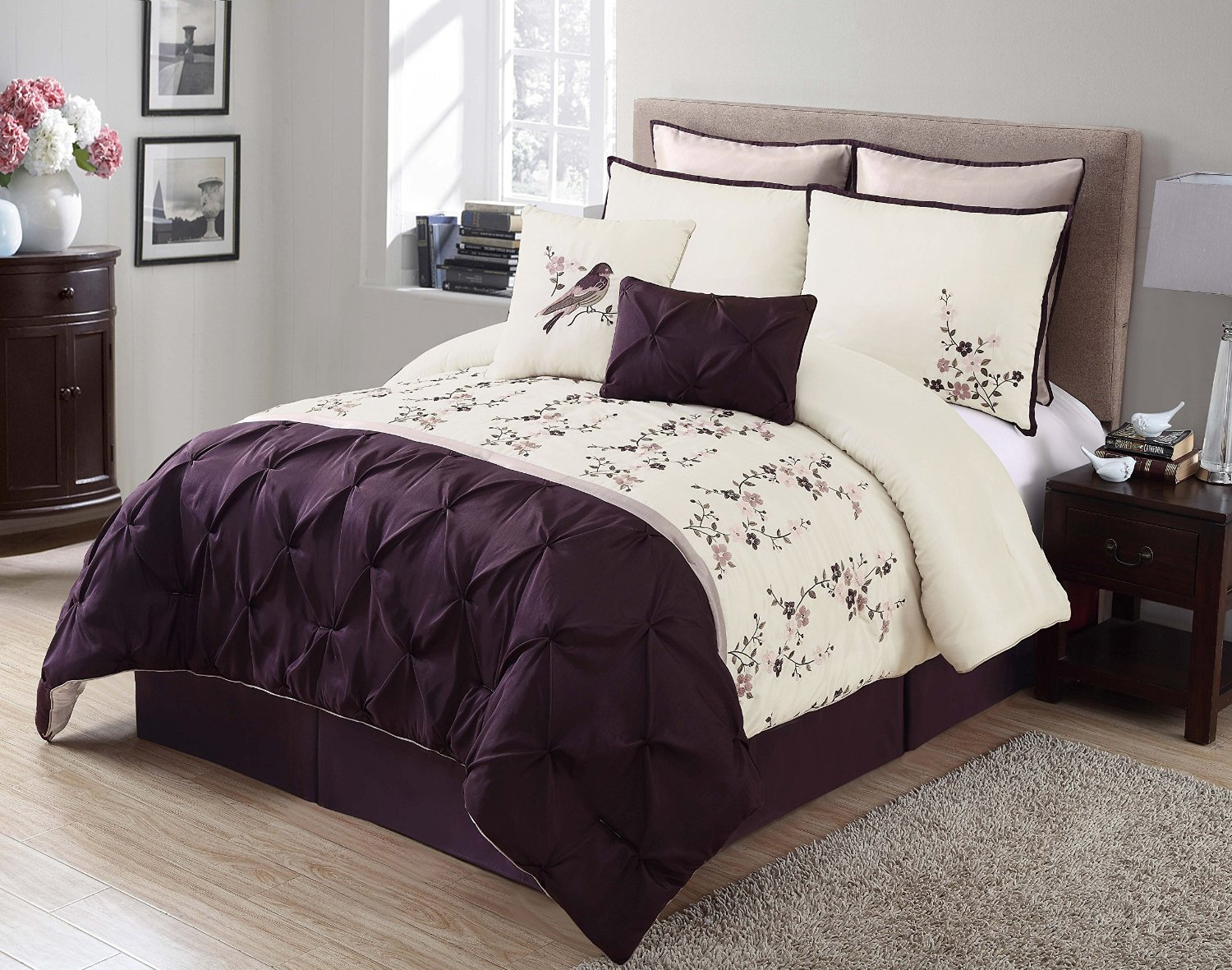 Black And Purple Bed Set