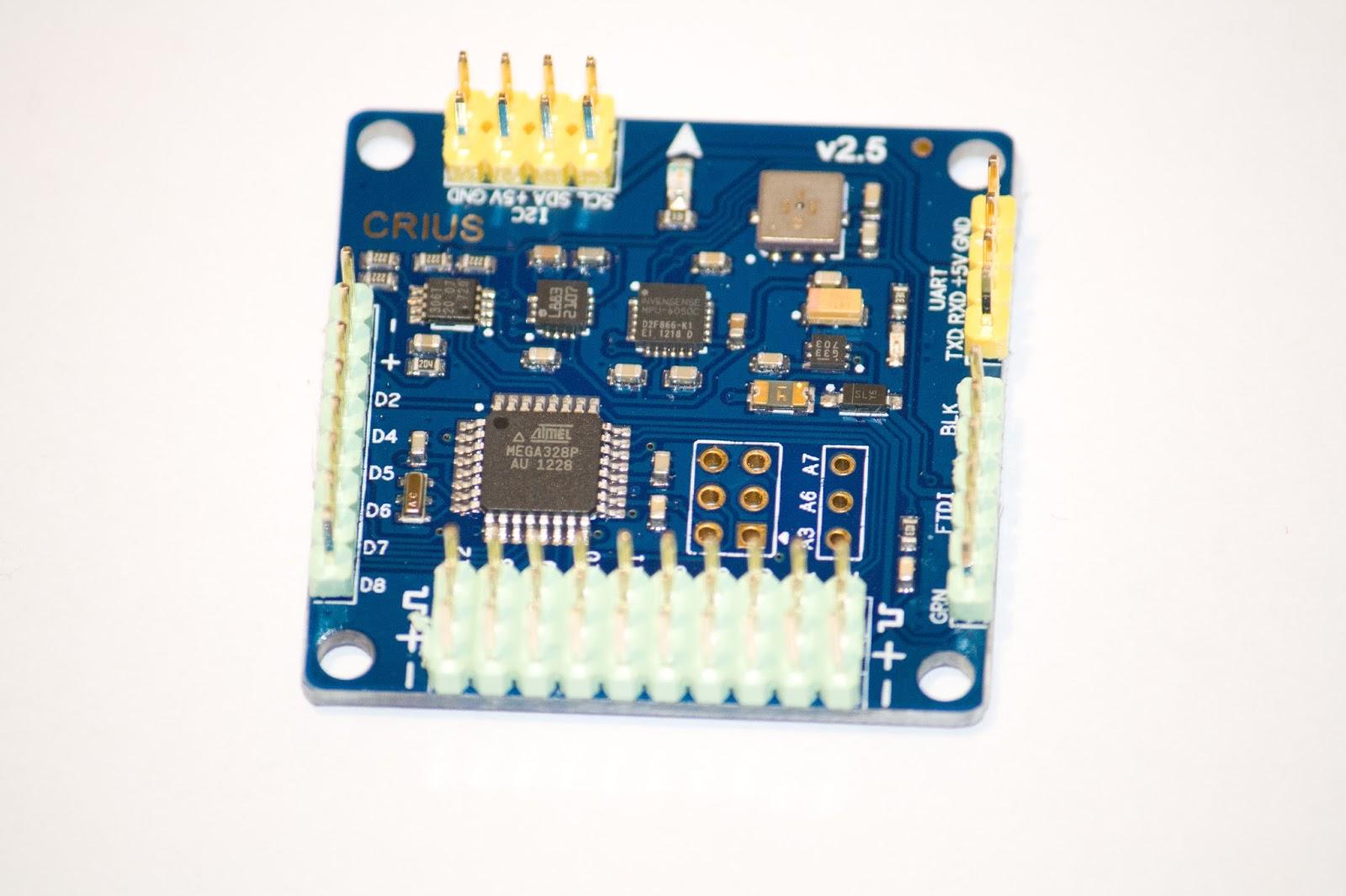 ATMega 328P Microcontroller • MPU6050C 6 axis gyro/accel with Motion  Processing Unit • HMC5883L 3-axis digital magnetometer • BMP085 digital  pressure sensor