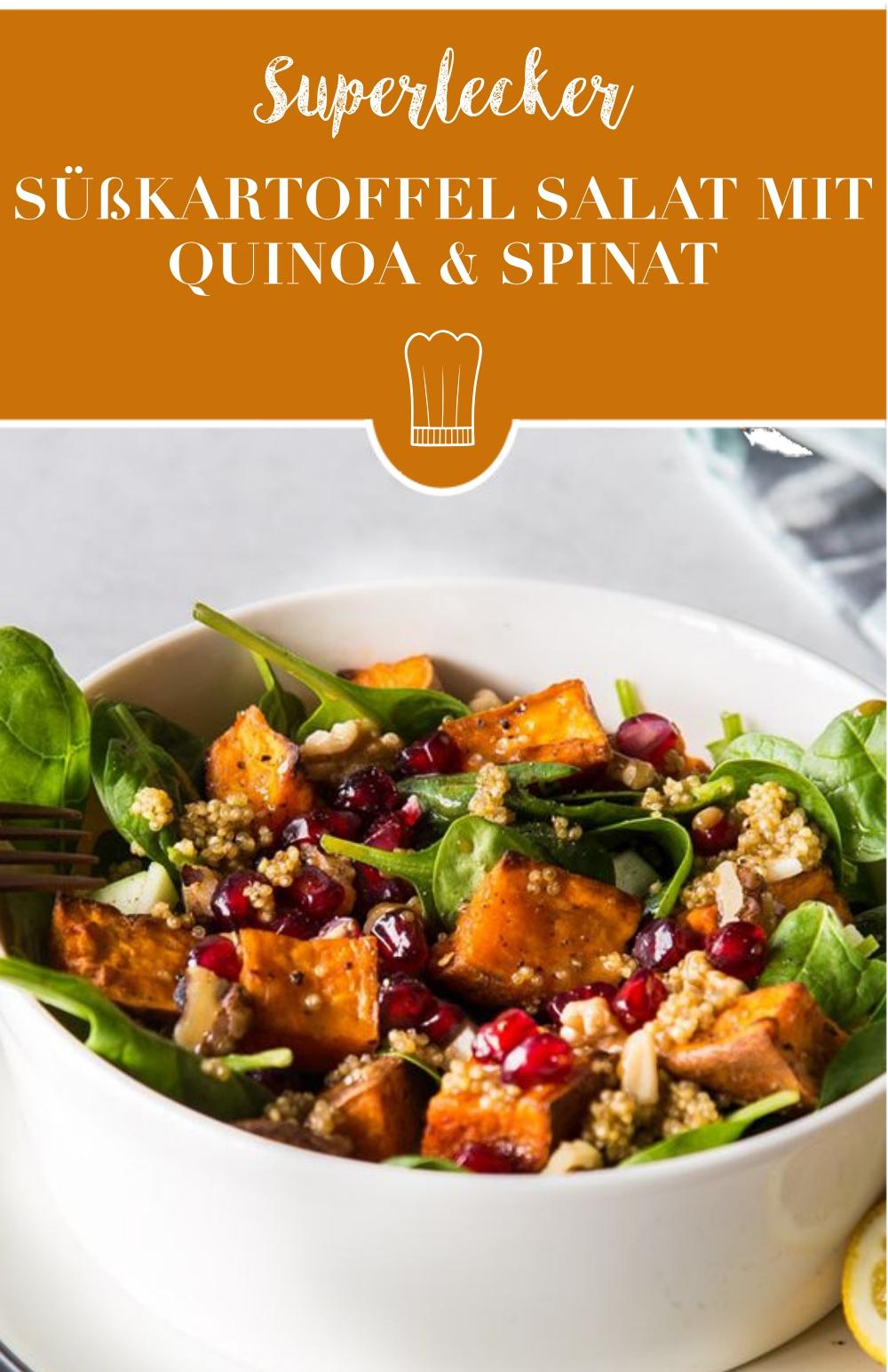 Süßkartoffel-Spinat Salat mit Quinoa: Superlecker & perfekt für die Mittagspause!
