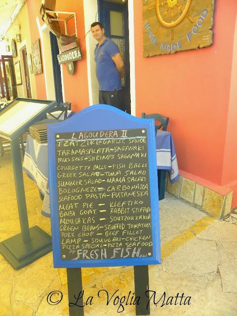 Cefalonia Fiskardo ristorante Lagoudera menù