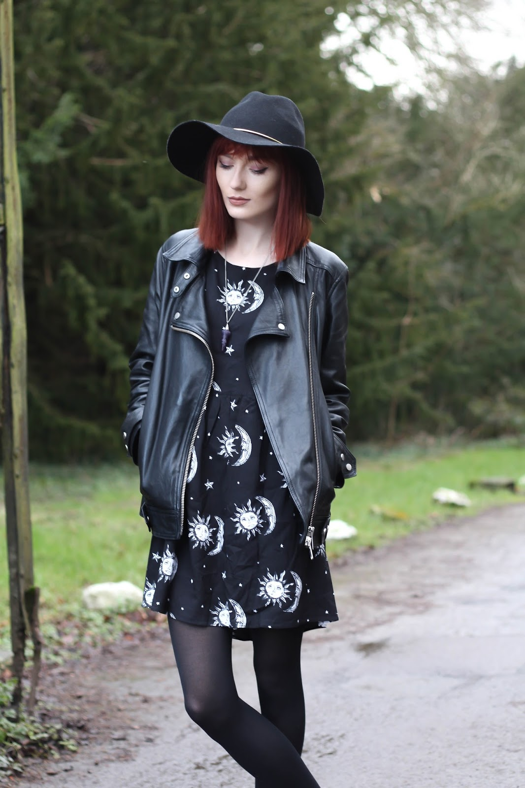 6cb3a633a6d0 *BABY DOLL DRESS IN SUN MOON AND STARS PRINT: c/o MOTEL ROCKS / VELVET  ANKLE BOOTS: ASOS (similar) / *ALL SAINTS LEATHER JACKET: c/o JOHN LEWIS /  FLOPPY ...
