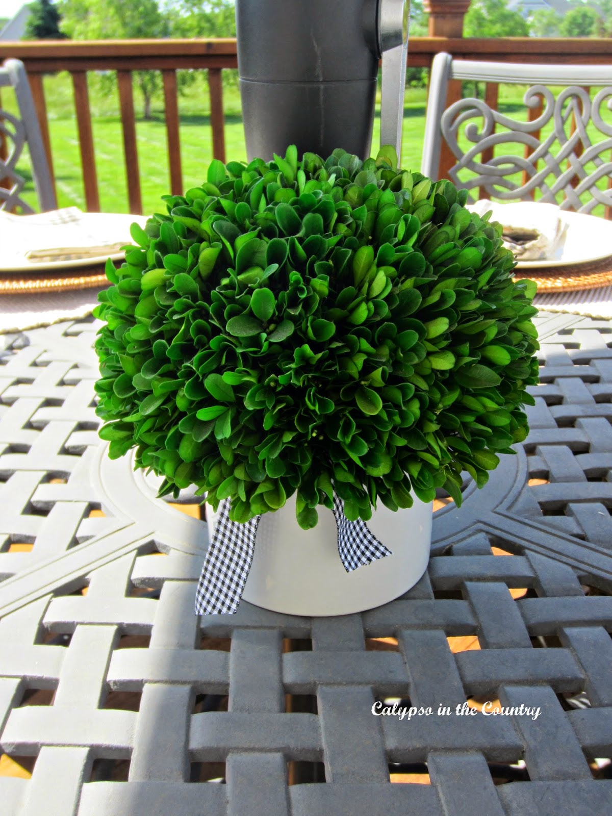 Preserved Boxwood - a simple centerpiece