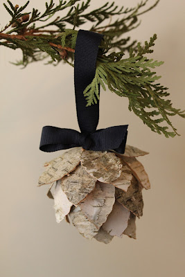 Birch Bark Pinecone Ornament - Turtles and Tails blog