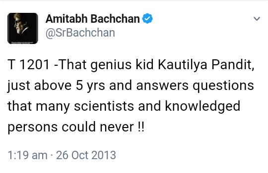 Amitabh bachchan tweet kautilya pandit