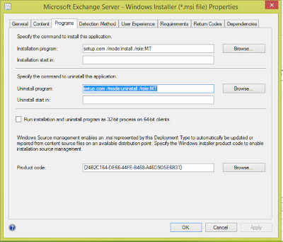 Exchange Management Tools 2007 - add as an application in SCCM 2012 1