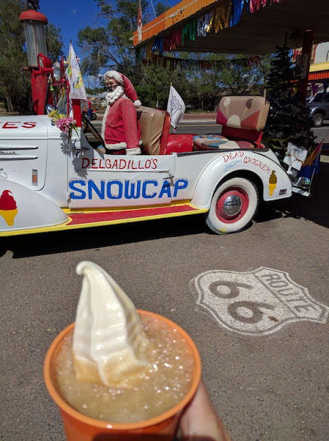 Root beer float on Historic Route 66 at Delgadillo's Snow Cap