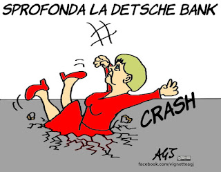 deutsche bank, borsa, banche, hedge fund, merkel, economia, vignetta, satira