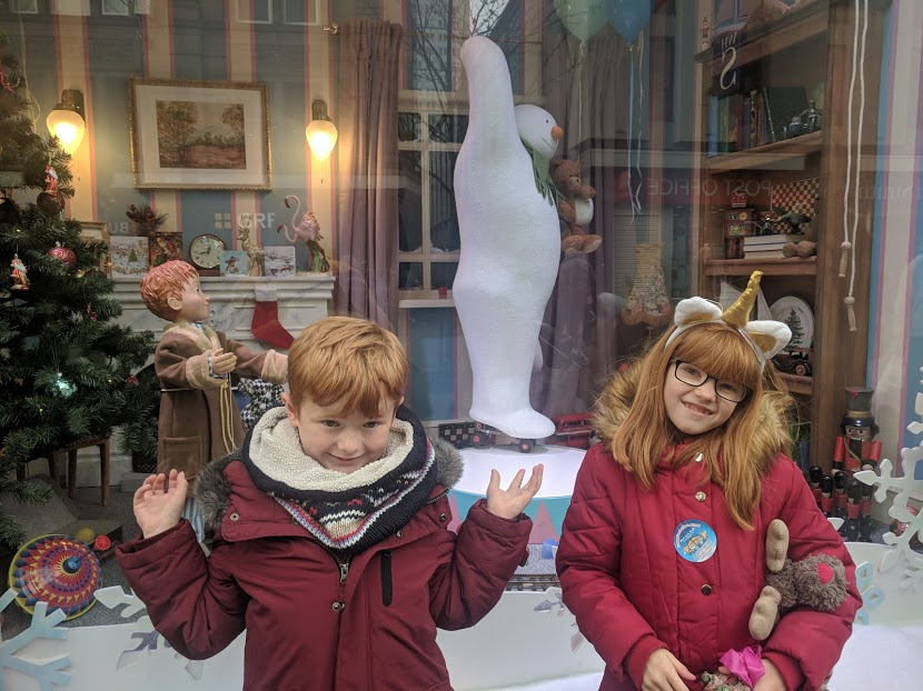 The Snowman at Fenwick's window 2018, etiquette and why I hate people who push in - snowman at party