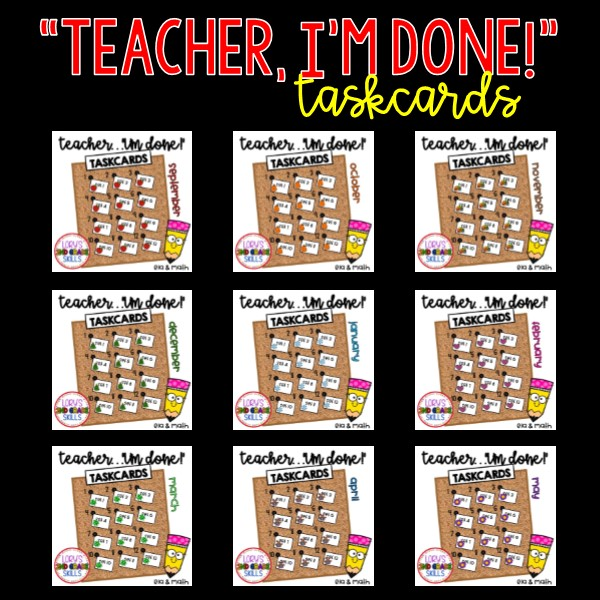 Teacher, I'm Done Taskcards