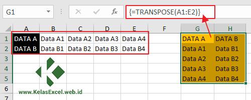 Mengubah Orientasi Data Horizontal Menjadi Vertikal