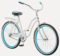 "Schwinn Baywood Cruiser Bike, 16"" frame with 26"" wheels, rear coaster brake, padded spring saddle, full fenders, rear carry rack, stylish white frame with turquoise highlights"