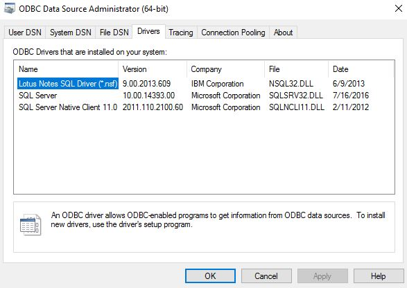 64 BIT NOTESSQL ODBC WINDOWS 7 DRIVERS DOWNLOAD